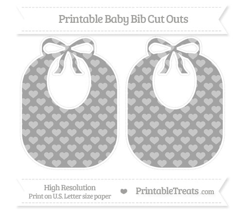 Free Pastel Grey Heart Pattern Large Baby Bib Cut Outs