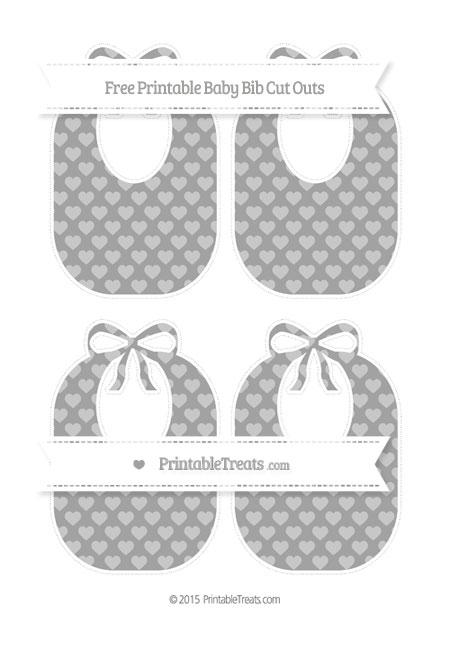 Free Pastel Grey Heart Pattern Medium Baby Bib Cut Outs