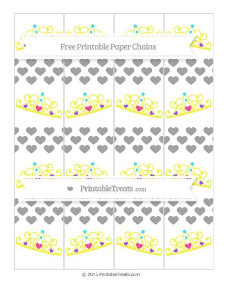 Free Pastel Grey Heart Pattern Princess Tiara Paper Chains