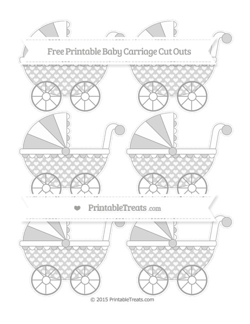 Free Pastel Grey Heart Pattern Small Baby Carriage Cut Outs