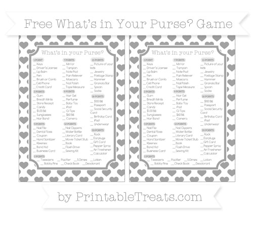 Free Pastel Grey Heart Pattern What's in Your Purse Baby Shower Game