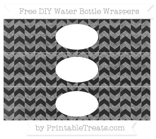 Free Pastel Grey Herringbone Pattern Chalk Style DIY Water Bottle Wrappers