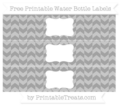 Free Pastel Grey Herringbone Pattern Water Bottle Labels