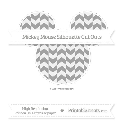 Free Pastel Grey Herringbone Pattern Extra Large Mickey Mouse Silhouette Cut Outs