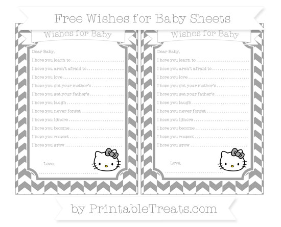 Free Pastel Grey Herringbone Pattern Hello Kitty Wishes for Baby Sheets