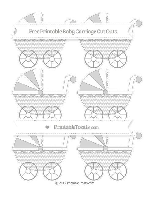 Free Pastel Grey Herringbone Pattern Small Baby Carriage Cut Outs