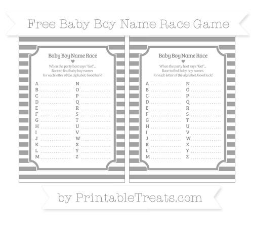 Free Pastel Grey Horizontal Striped Baby Boy Name Race Game