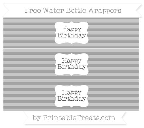 Free Pastel Grey Horizontal Striped Happy Birhtday Water Bottle Wrappers