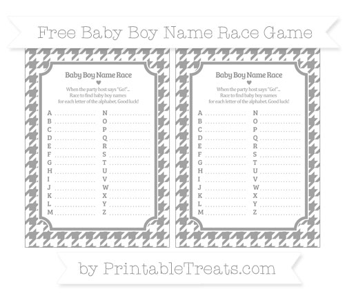 Free Pastel Grey Houndstooth Pattern Baby Boy Name Race Game