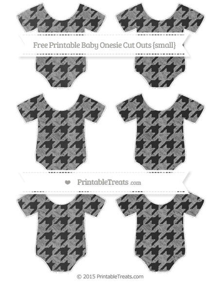 Free Pastel Grey Houndstooth Pattern Chalk Style Small Baby Onesie Cut Outs
