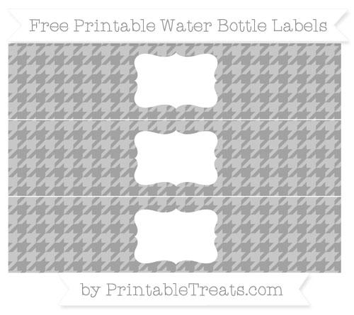 Free Pastel Grey Houndstooth Pattern Water Bottle Labels