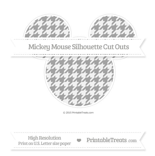 Free Pastel Grey Houndstooth Pattern Extra Large Mickey Mouse Silhouette Cut Outs