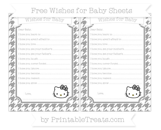 Free Pastel Grey Houndstooth Pattern Hello Kitty Wishes for Baby Sheets