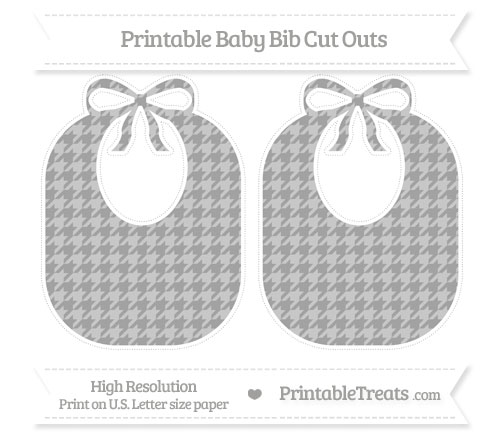 Free Pastel Grey Houndstooth Pattern Large Baby Bib Cut Outs