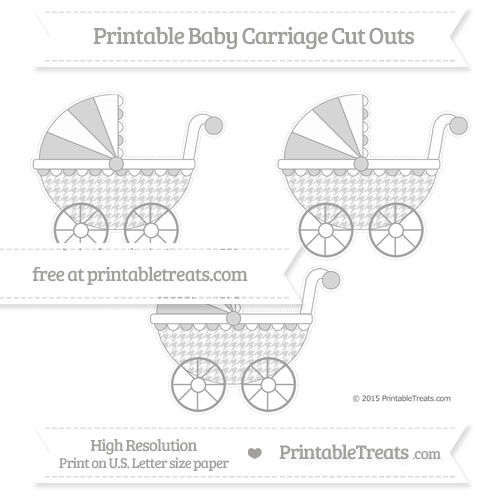 Free Pastel Grey Houndstooth Pattern Medium Baby Carriage Cut Outs