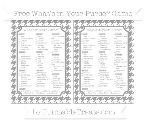 Free Pastel Grey Houndstooth Pattern What's in Your Purse Baby Shower Game