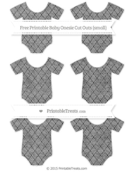 Free Pastel Grey Moroccan Tile Chalk Style Small Baby Onesie Cut Outs