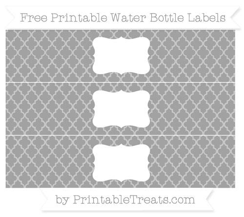 Free Pastel Grey Moroccan Tile Water Bottle Labels