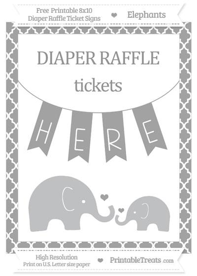 Free Pastel Grey Moroccan Tile Elephant 8x10 Diaper Raffle Ticket Sign