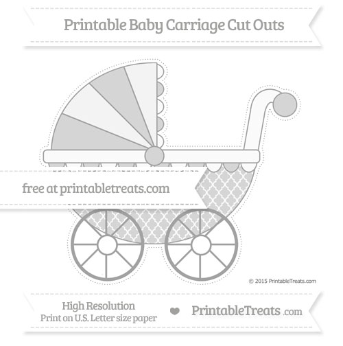 Free Pastel Grey Moroccan Tile Extra Large Baby Carriage Cut Outs