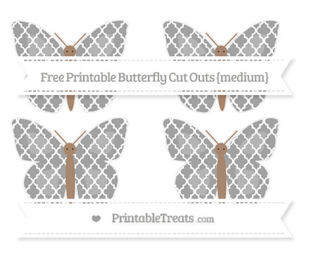 Free Pastel Grey Moroccan Tile Medium Butterfly Cut Outs