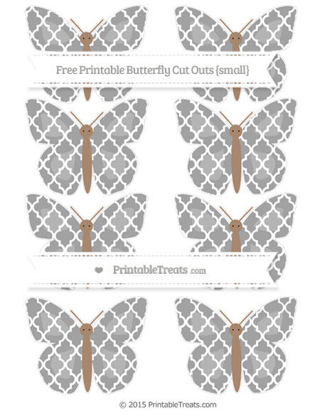 Free Pastel Grey Moroccan Tile Small Butterfly Cut Outs