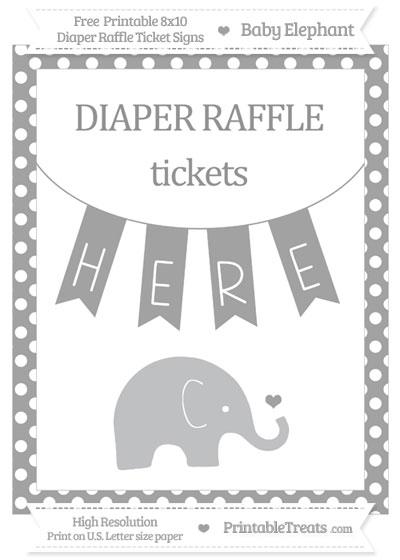 Free Pastel Grey Polka Dot Baby Elephant 8x10 Diaper Raffle Ticket Sign