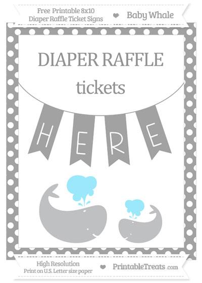 Free Pastel Grey Polka Dot Baby Whale 8x10 Diaper Raffle Ticket Sign