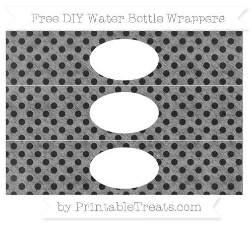Free Pastel Grey Polka Dot Chalk Style DIY Water Bottle Wrappers