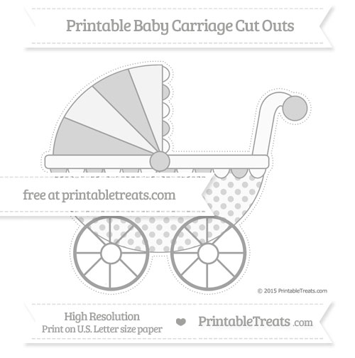 Free Pastel Grey Polka Dot Extra Large Baby Carriage Cut Outs