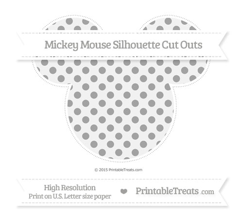Free Pastel Grey Polka Dot Extra Large Mickey Mouse Silhouette Cut Outs