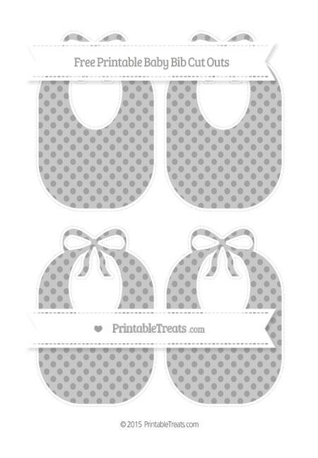 Free Pastel Grey Polka Dot Medium Baby Bib Cut Outs