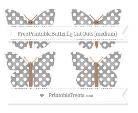 Free Pastel Grey Polka Dot Medium Butterfly Cut Outs