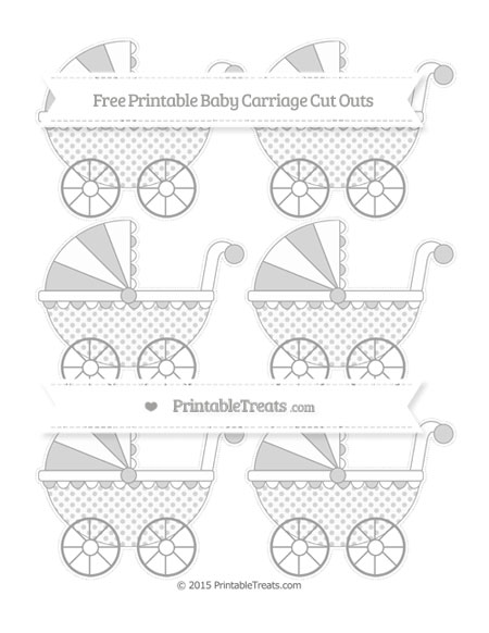 Free Pastel Grey Polka Dot Small Baby Carriage Cut Outs