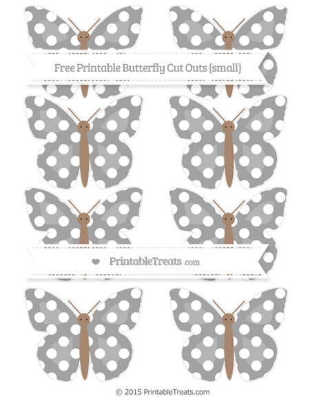 Free Pastel Grey Polka Dot Small Butterfly Cut Outs