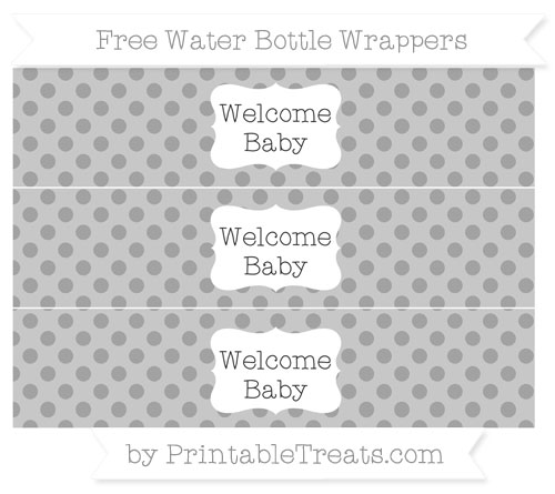 Free Pastel Grey Polka Dot Welcome Baby Water Bottle Wrappers