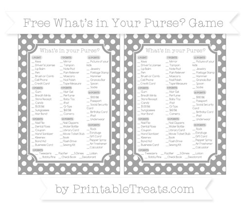 Free Pastel Grey Polka Dot What's in Your Purse Baby Shower Game