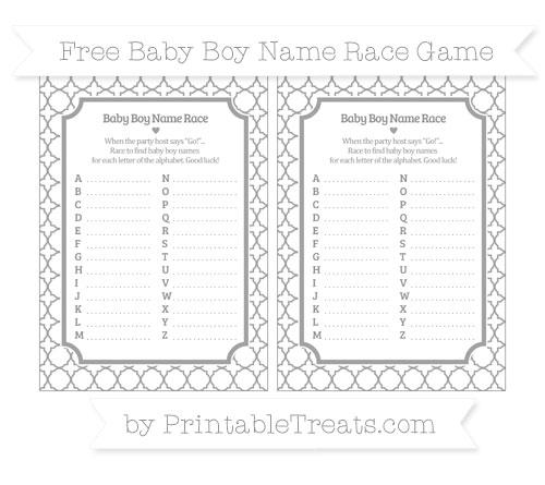 Free Pastel Grey Quatrefoil Pattern Baby Boy Name Race Game