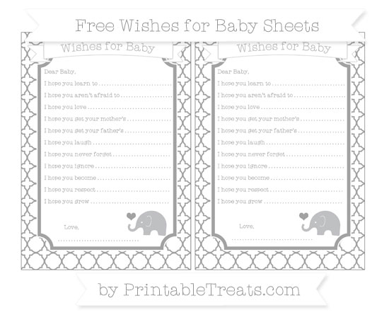 Free Pastel Grey Quatrefoil Pattern Baby Elephant Wishes for Baby Sheets