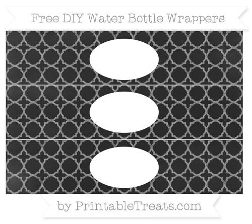 Free Pastel Grey Quatrefoil Pattern Chalk Style DIY Water Bottle Wrappers
