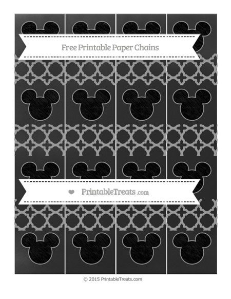 Free Pastel Grey Quatrefoil Pattern Chalk Style Mickey Mouse Paper Chains