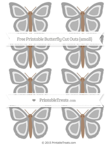 Free Pastel Grey Small Butterfly Cut Outs