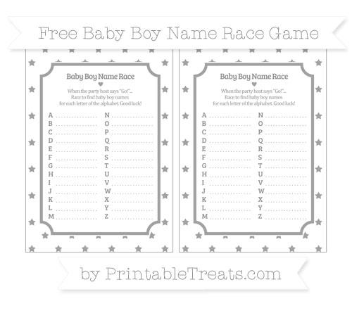 Free Pastel Grey Star Pattern Baby Boy Name Race Game