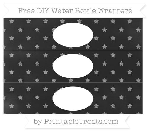 Free Pastel Grey Star Pattern Chalk Style DIY Water Bottle Wrappers