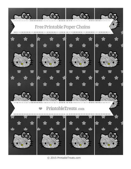 Free Pastel Grey Star Pattern Chalk Style Hello Kitty Paper Chains