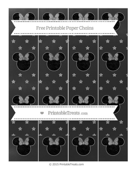 Free Pastel Grey Star Pattern Chalk Style Minnie Mouse Paper Chains