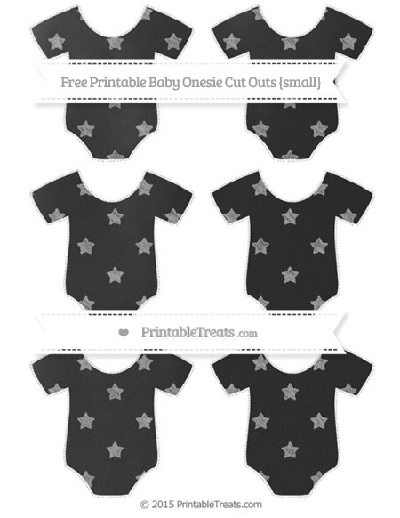 Free Pastel Grey Star Pattern Chalk Style Small Baby Onesie Cut Outs