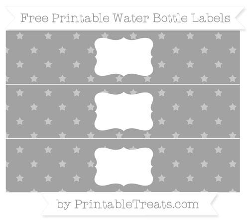 Free Pastel Grey Star Pattern Water Bottle Labels
