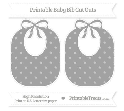Free Pastel Grey Star Pattern Large Baby Bib Cut Outs