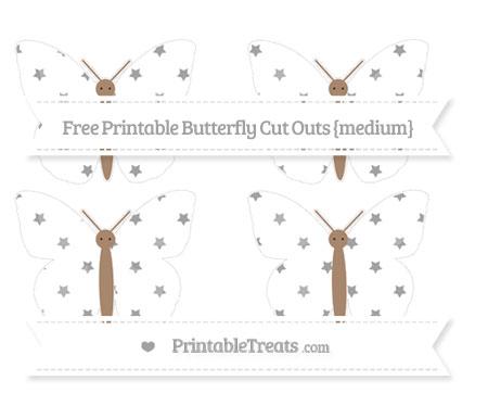 Free Pastel Grey Star Pattern Medium Butterfly Cut Outs